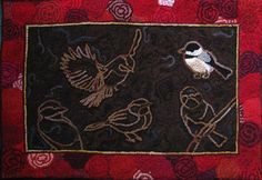 Three Fish Primitive Hooked Rug by theoldloft on Etsy