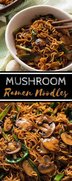 (no title) Asian mushroom ramen noodlesAsian mushroom ramen noodles! Simple, quick and extremely tasty, this is a versatile side dish for every Asian meal.Simple homemade ramen bowlsSimple homemade ram bowls Kill Thyme - Make a Mushroom Asian Recipe, Vegetarian Mushroom Recipes, Easy Mushroom Recipes, Vegetarian Recipes Noodles, Baby Bella Mushroom Recipes, Ramen Recipes, Cooking Recipes, Healthy Recipes, Asian Noodle Recipes