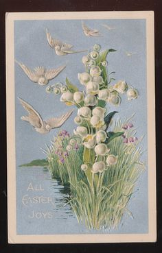 Vintage Postcard Easter Joys Lily of the Valley Flowers & Birds Embossed-bbb505