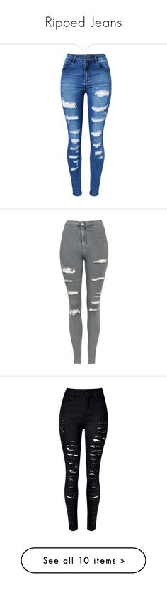 """""""Ripped Jeans"""" by breezybrebre on Polyvore featuring jeans, pants, bottoms, calças, long jeans, ripped patched jeans, patch pocket jeans, slim fit jeans, torn jeans and pantalon"""