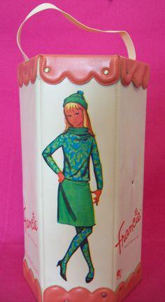vintage barbie Francie mod pink hexagon case