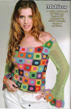 Linda Blusa com Squares Coloridos. Um modelo para ser feito aproveitando as sobras de linhas. Gráfico