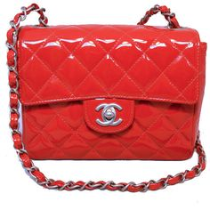 Pre-Owned Chanel Red Patent Leather Mini Classic Flap Shoulder Bag ($3,435) ❤ liked on Polyvore featuring bags, handbags, shoulder bags, red patent leather purse, chain strap handbags, zipper shoulder bag, chanel handbags and red handbags