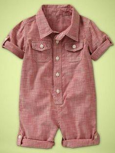 Baby Gap Boys Red Chambray Convertible Romper | eBay
