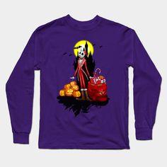 Halloween Thin Santa  Long Sleeve T-Shirt #teepublic #tee #tshirt #longsleeve #clothing #cartoons #kids #holliday #christmas #halloweenskull #thenightmarebeforechristmas #jackskellington #halloweencostume #sally #pumpkins #halloweenpumpkin #tjackskelleton #pumpkinking #jackandsally #skellington #nightmarebeforechristmas