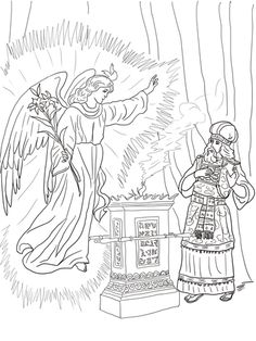 Angel Visits Zechariah coloring page from John the Baptist category. Select from 20946 printable crafts of cartoons, nature, animals, Bible and many more. Bible Crafts For Kids, Preschool Bible, Bible Activities, Angel Coloring Pages, Colouring Pages, Coloring Books, Coloring Sheets, Mary Engelbreit, Christian Crafts