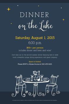 Dinner on the Lake; Poster Layout, Party Poster, Party Themes, Party Ideas, Party Flyer, Keynote, Supper Club, Invitations, Templates