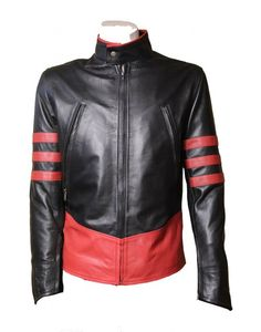 X-men Black Red Stripes Vintage Leather Jacket