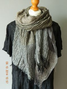 NEW BOHEMIAN BLACK / TAUPE /  GREY LINEN SCARF / WRAP FROM ITALY LAGENLOOK UK