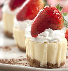 Recipe for Mini Strawberry Cheesecakes or Mix and Match - With this recipe you can mix and match toppings for your showers and parties.. 10 extra possibilities included!!