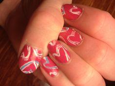 Doodle heart nails <3