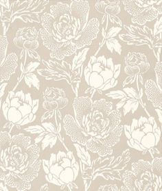 Peony (BP 2302) - Farrow & Ball Wallpapers - A classic Peony floral pattern, beautifully hand printed using Farrow & Ball's finest paints in white on a taupe background - more colours are available. Please request a sample for true colour match.