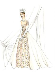 Gary Jones costume sketch of Anne Hathaway for Princess Diaries 2: Royal Engagement, 2004.