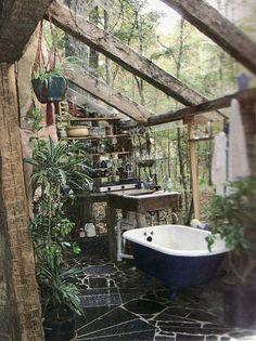bohemian+glass+conservatory+bathroom+interior