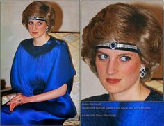 Princess Diana wearing a chocker for a headband with a matching pair of sapphire and diamond earrings