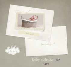 Daisy 5x7 card template C005 by ArtonClouds on Etsy, $8.00