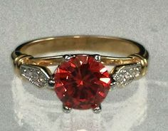 Gold Plared cocktail Ring Red orange Cubic Zirconia  Sizes 4,6,8,9,9.5 USA  #Unbranded #Cocktail