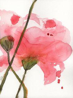 Impresión Floral de grabado arte botánico moderno Poppy