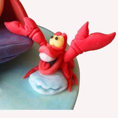 fondant gumpaste sebastian little mermaid Jumping Clay, Polymer Clay Disney, Polymer Clay Figures, Cake Decorating With Fondant, Fondant Decorations, Little Mermaid Cakes, The Little Mermaid, Nemo Cake, Ariel Cake