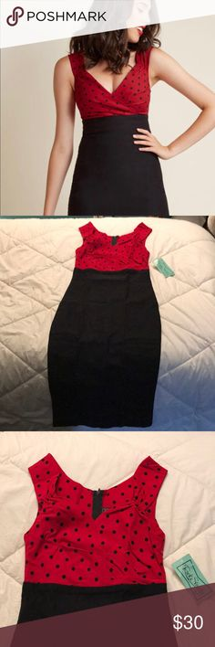 Rock Steady Vintage Inspired Sheath Dress Rock Steady Vintage Inspired Sheath Dress, size medium, color red and black dots, and black.   Brand new. Steady Clothing Dresses