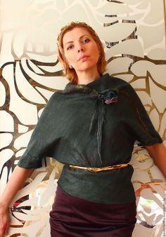 Купить Блузка валяная  Лесная нимфа - войлок, валяная блузка, блуза валяная, летучая мышь