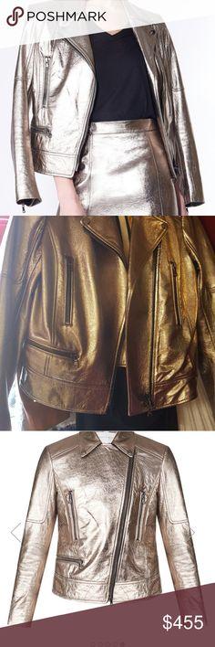 Spotted while shopping on Poshmark: Mica Biker Metallic Leather Jacket! #poshmark #fashion #shopping #style #Veronica Beard #Jackets & Blazers