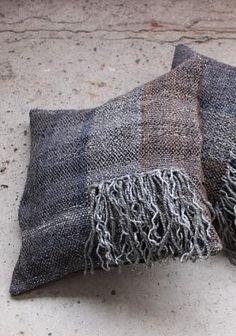 Handwoven Pillow covers with fringes  Handspun yarn, Saori
