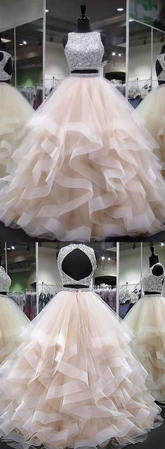 Sale Light Sequin Prom Dresses Champagne Two Pieces Sequin Tulle Long Prom Dress, Champagne Evening Dress Prom Dresses Two Piece, Cute Prom Dresses, Dresses For Teens, Pretty Dresses, Dress Prom, Wedding Dress, Two Piece Quinceanera Dresses, Elegant Dresses, Homecoming Dresses