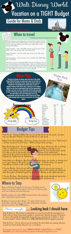 2015 Cheapest dates to travel to Walt Disney World, Best tips to save money and a chart to know what the weather will be....If you're on a TIGHT budget Disney World is still within your reach! Dream Big... DREAM DISNEY!