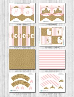 Princess Party decor toppers banner diy printable