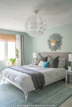 DIY Bamboo Blinds in Master Bedroom (NOTE: paint color is Rainwashed by Sherwin Williams)