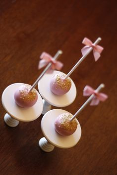 Pink and Gold Cake Pops - Bows