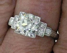 Art Deco anillo de compromiso Europea cortada por myvintagediamondring por Joyce