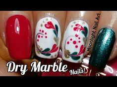 Drag Dry Marble for Christmas - Needle Nail Art Tutorial - YouTube
