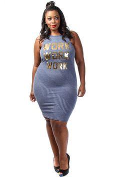 1e7ca92c865 Plus Size Metallic Work Print Rib Dress