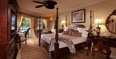Romantic suite at Sandals Resorts & Spas in the Caribbean.  Perfect for destination weddings and honeymoons!