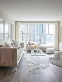 Gorgeous condo living room design from Peridot Decorative Homewear. Floor lamp                                                                                                                                                                                 More Modern White Living Room, Transitional Living Rooms, White Rooms, Living Room Grey, Small Living, Condo Living Room, Apartment Living, Living Room Furniture, Wooden Furniture