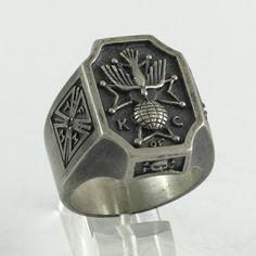 """Skull Cross Ring Knights of Columbus TFMM """" Tempus fugit , Memento Mori  """" Antique – Rustic finish Sterling Silver 21 gr."""