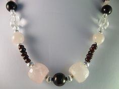 Rose Quartz Crystal Quartz Garnets Beaded Necklace by NaturesJewelsByVina, $59.99