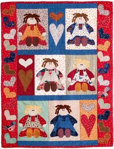 """""""I LOVE RAG DOLLS"""" Pieced & Applique Doll Quilt Pattern  from ebay so don't know how long this pic will be available"""