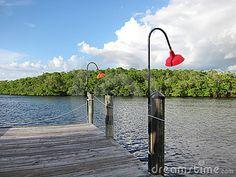 Old wooden boat dock in Naples Florida