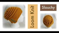 Loom Knit Slouchy Hat with Flap-Over Brim - YouTube