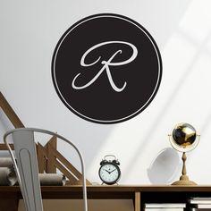 Elegant Script Monogram  Wall Decal Custom Vinyl Art by danadecals