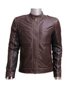 Black Sleeves Brown Leather Jacket