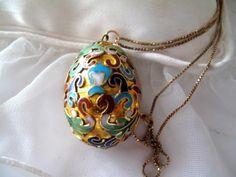 Vintage Cloisonne Hand Painted Egg Pendant Vermeil Sterling Chain