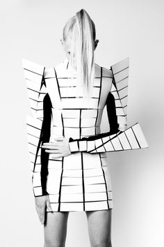 Futuristic Armour Fashion - avant garde dress with graphic silhouette; sculptural fashion // Gareth Pugh Fall 2009