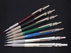Lead Holder Variants, from top: Redcircle in burgundy; Faber-Castell TK 80635 in dark green; Linex LH 1000 in green; ALVIN DB in blue; Pacific Arc in silver; and Scrikss Graph-X in pearl white. College Supplies, Mechanical Pencils, Faber Castell, Drawing Tools, Fountain Pen, Pearl White, Writing, Silver, Collection