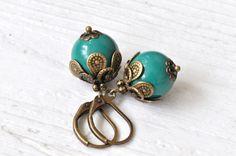Vintage Ohrringe dunkelgrün von Saimana´s Pearls  auf DaWanda.com