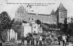 Neidenburg nach Zerstörung durch die Russen am 22. August 1914 Erbeutete russische Feldküche.