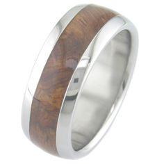Rosewood Burl Inlay Titanium Ring.